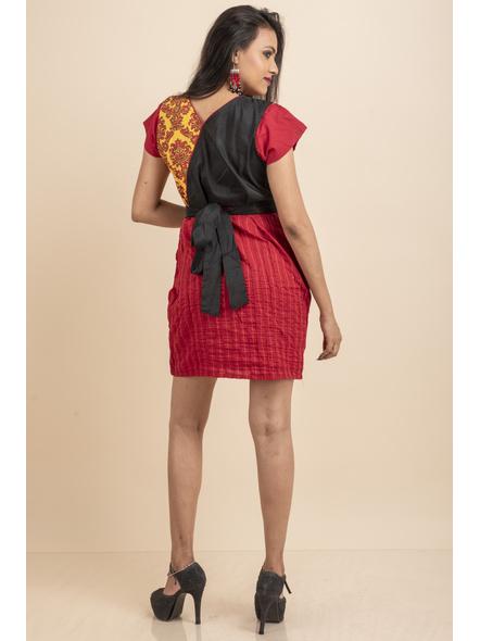Yellow Printed with Pin tuck on Red Dress-32-Printed Saree & Silk Saree Fabric-2