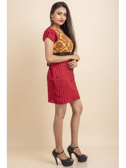 Yellow Printed with Pin tuck on Red Dress-32-Printed Saree & Silk Saree Fabric-1