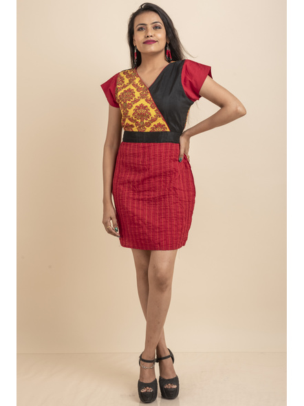 Yellow Printed with Pin tuck on Red Dress-LAASGD20