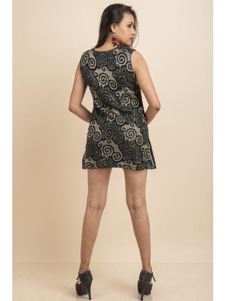 Designer Black Sequence Dress-32-Designer Fabric-3