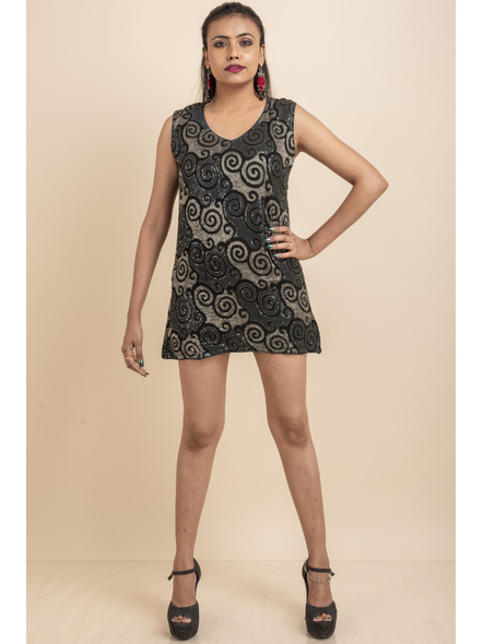 Designer Black Sequence Dress-LAASGD21