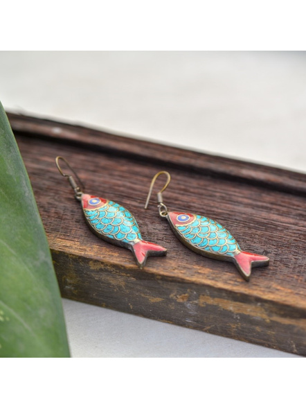 Handcrafted Designer Turquoise inlaid Tibetan Fish Earring-LAAER252