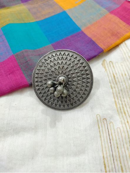 Designer Oxidised Silver Circular Finger Ring with Ghungroo-1