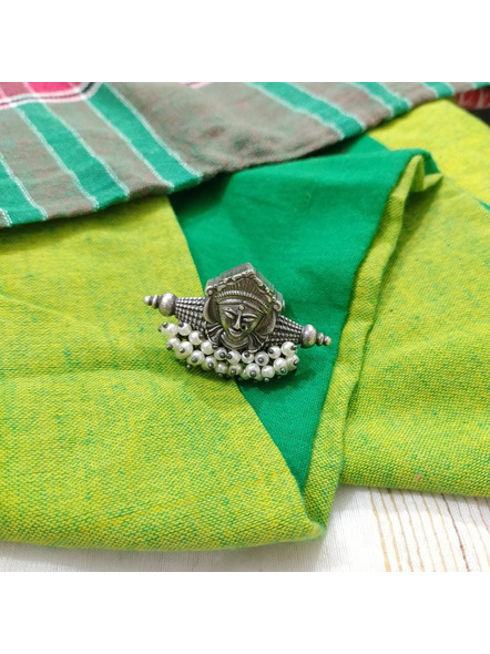 Designer Oxidised Silver Devi Durga Adjustable Finger Ring with Faux Pearl-1