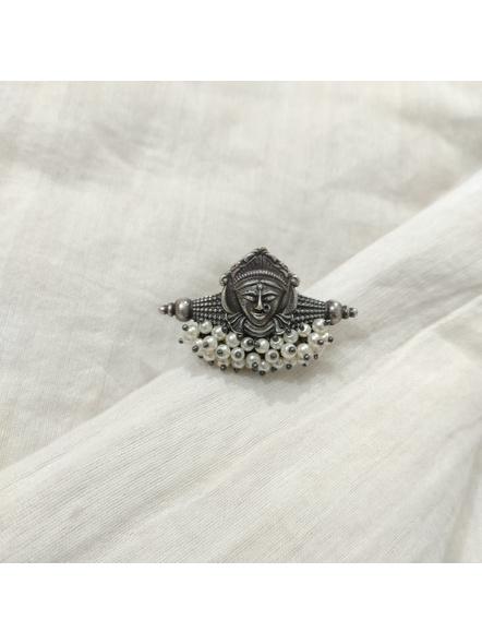 Designer Oxidised Silver Devi Durga Adjustable Finger Ring with Faux Pearl-2