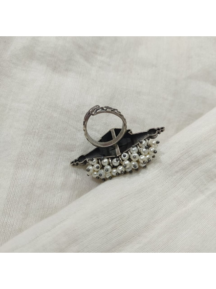 Designer Oxidised Silver Devi Durga Adjustable Finger Ring with Faux Pearl-3