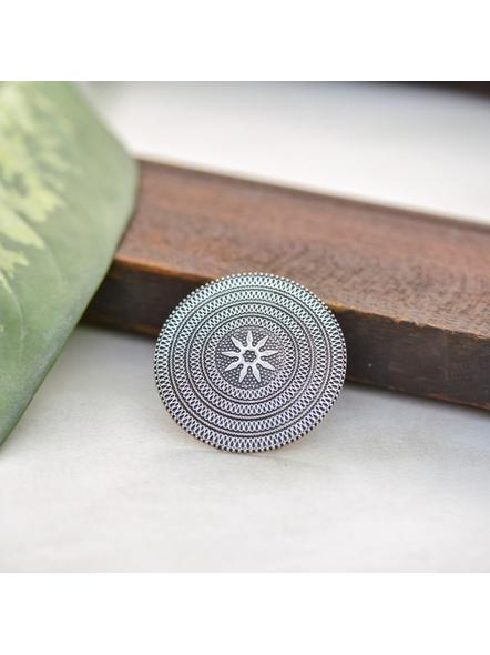 German Silver Round Jumbo Floral Finger Ring-LAAR009