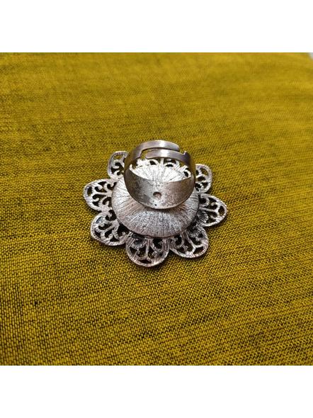 Designer German Silver Floral Mirror Adjustable Finger Ring-2