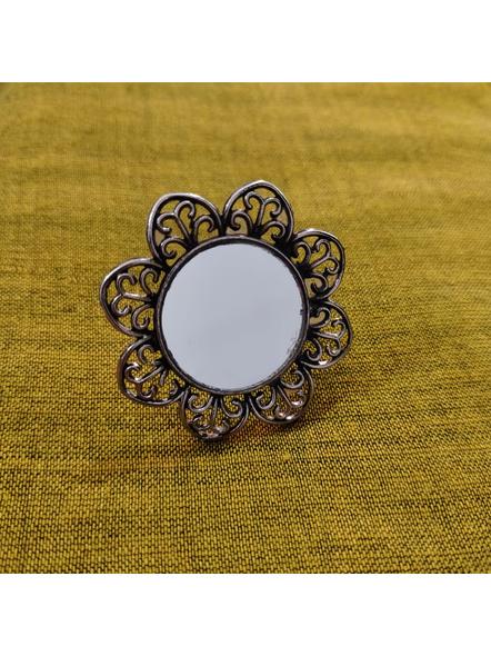 Designer German Silver Floral Mirror Adjustable Finger Ring-1