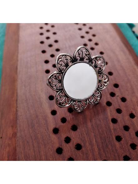 Designer German Silver Floral Mirror Adjustable Finger Ring-LAAR013