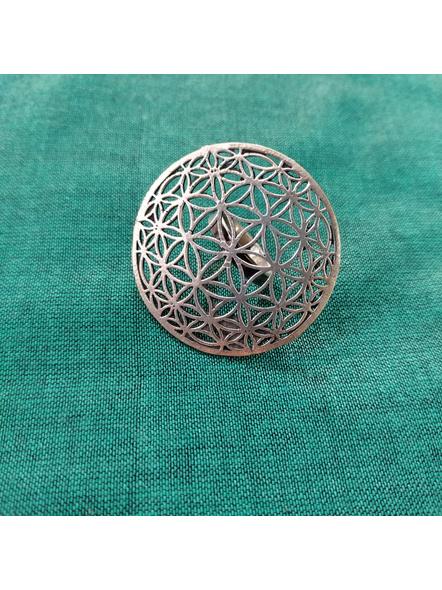 German silver Designer Round Floral Finger Ring-1