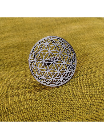 German silver Designer Round Floral Finger Ring-LAAR012