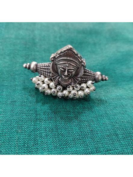 Designer Oxidised Silver Devi Durga Adjustable Finger Ring with Faux Pearl-LAAR014