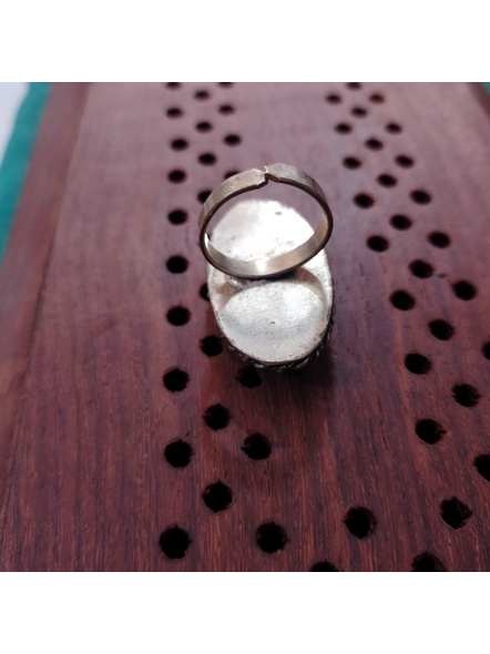 Designer German Silver Oval Finger Ring with Semi Precious Tiger Eye Stone-4