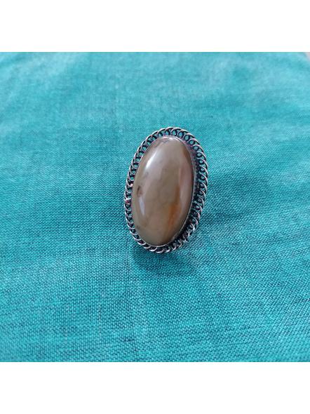 Designer German Silver Oval Finger Ring with Semi Precious Agate Stone-1