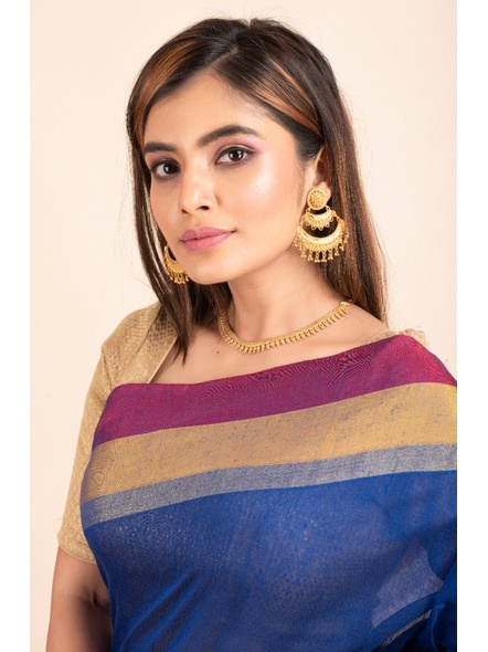 Gold Polished Oval Stud Two Layer Chandbali Earring-Gold-Copper-Adult-Female-6.5CM-1