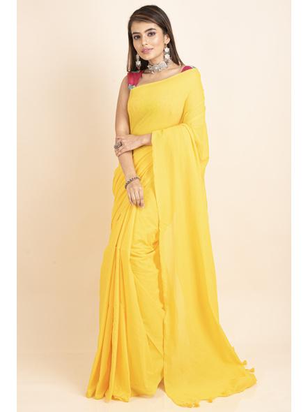 Mercerized Handloom Yellow Khadi Cotton Saree with Blouse Piece-LAAMHCWBP018