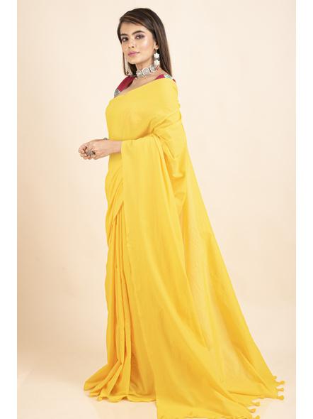 Mercerized Handloom Yellow Khadi Cotton Saree with Blouse Piece-3