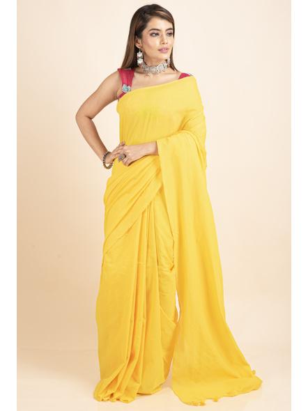 Mercerized Handloom Yellow Khadi Cotton Saree with Blouse Piece-2