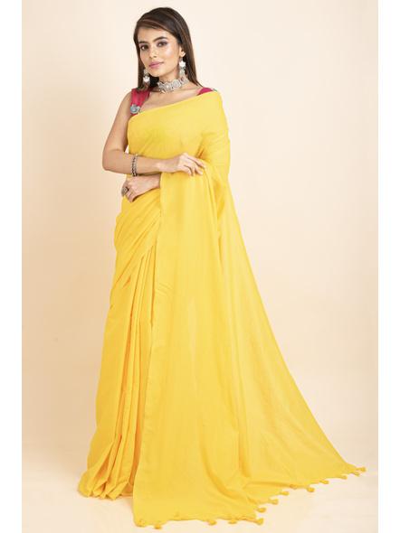 Mercerized Handloom Yellow Khadi Cotton Saree with Blouse Piece-4
