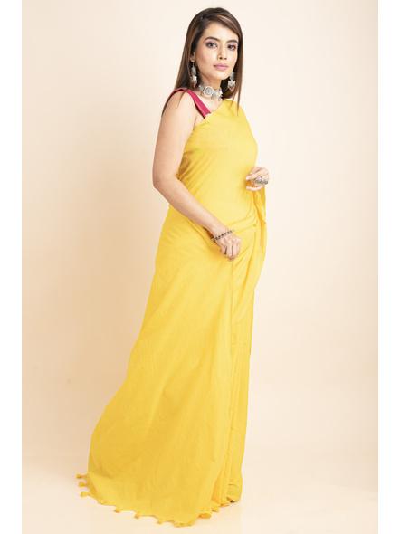 Mercerized Handloom Yellow Khadi Cotton Saree with Blouse Piece-5