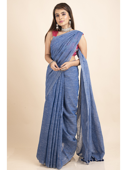 Mercerized Handloom Khadi Cotton Royal Blue White Saree with Blouse Piece-4
