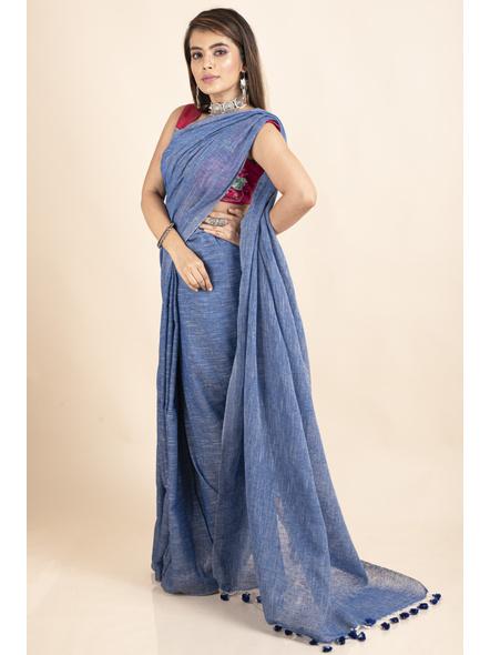 Mercerized Handloom Khadi Cotton Royal Blue White Saree with Blouse Piece-3