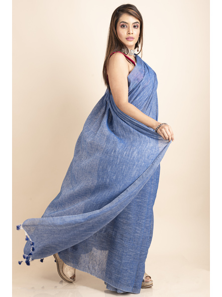 Mercerized Handloom Khadi Cotton Royal Blue White Saree with Blouse Piece-2