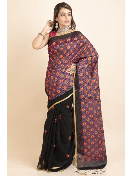 Embroidered Floral Design Black Orange Cotton Silk Saree with Blouse Piece-3