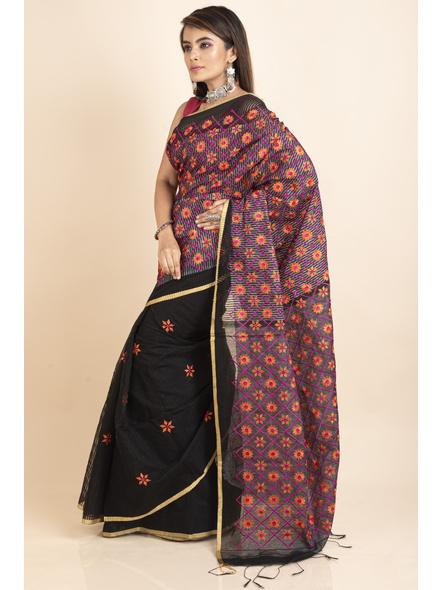 Embroidered Floral Design Black Orange Cotton Silk Saree with Blouse Piece-4