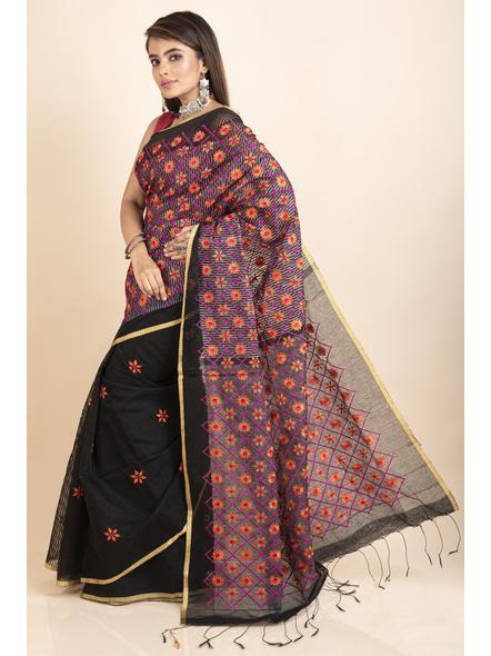 Embroidered Floral Design Black Orange Cotton Silk Saree with Blouse Piece-2