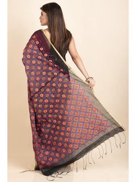 Embroidered Floral Design Black Orange Cotton Silk Saree with Blouse Piece-1