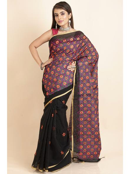 Embroidered Floral Design Black Orange Cotton Silk Saree with Blouse Piece-LAACSHS004