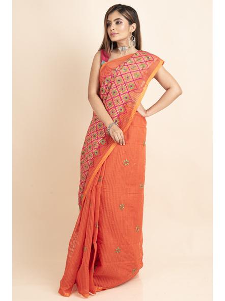 Embroidered Floral Design Orange Pink Cotton Silk Saree with Blouse Piece-3