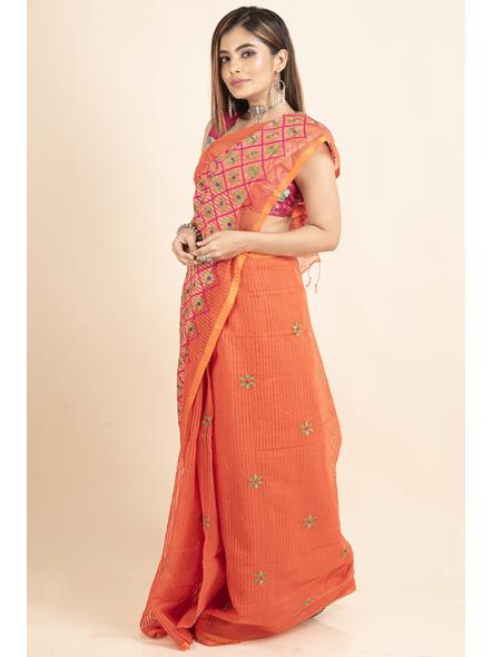 Embroidered Floral Design Orange Pink Cotton Silk Saree with Blouse Piece-5