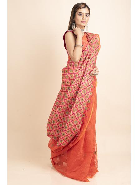Embroidered Floral Design Orange Pink Cotton Silk Saree with Blouse Piece-4