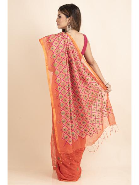 Embroidered Floral Design Orange Pink Cotton Silk Saree with Blouse Piece-1