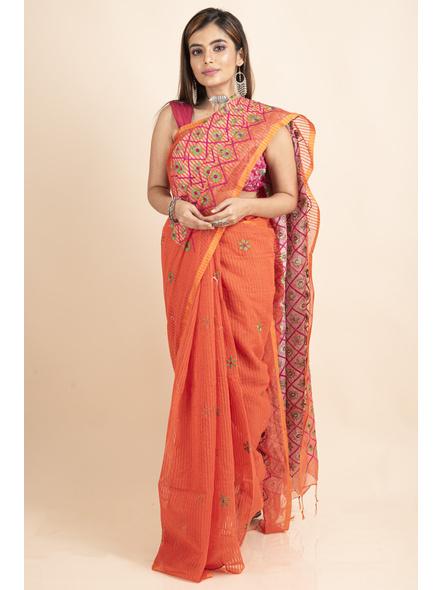 Embroidered Floral Design Orange Pink Cotton Silk Saree with Blouse Piece-LAACSHS005