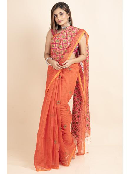 Embroidered Floral Design Orange Pink Cotton Silk Saree with Blouse Piece-2