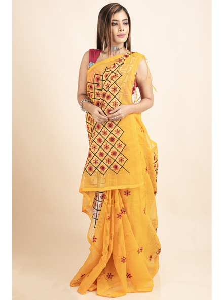 Embroidered Floral Design Yellow and Red Cotton Silk Saree with Blouse Piece-2