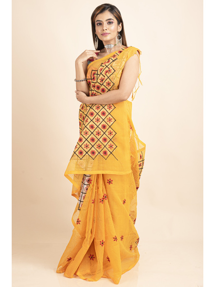 Embroidered Floral Design Yellow and Red Cotton Silk Saree with Blouse Piece-LAACSHS006