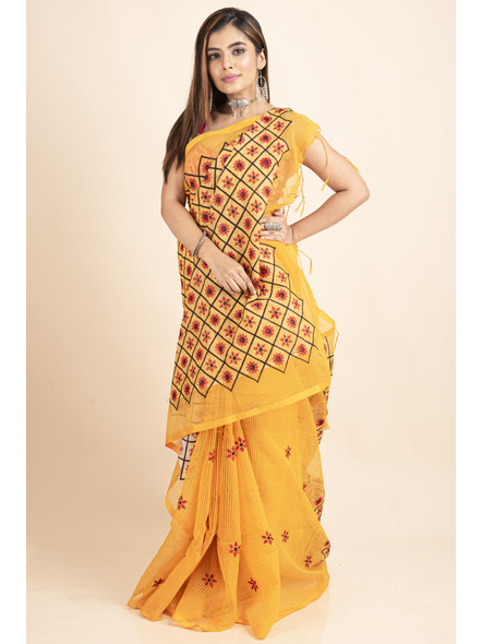 Embroidered Floral Design Yellow and Red Cotton Silk Saree with Blouse Piece-5