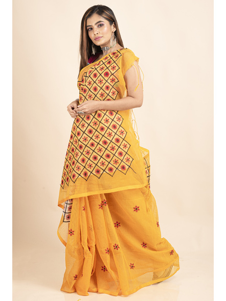 Embroidered Floral Design Yellow and Red Cotton Silk Saree with Blouse Piece-4