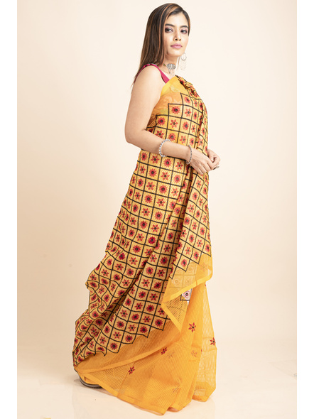 Embroidered Floral Design Yellow and Red Cotton Silk Saree with Blouse Piece-3
