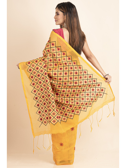Embroidered Floral Design Yellow and Red Cotton Silk Saree with Blouse Piece-1