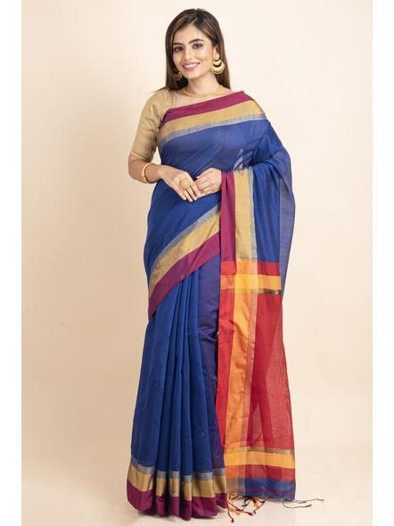 Blue Cotton Handloom Saree with Golden Zari Border-LAACHS012