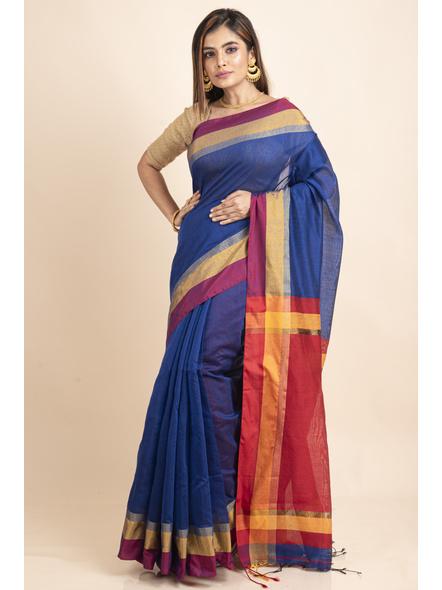 Blue Cotton Handloom Saree with Golden Zari Border-4