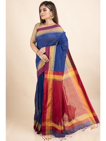 Blue Cotton Handloom Saree with Golden Zari Border-3