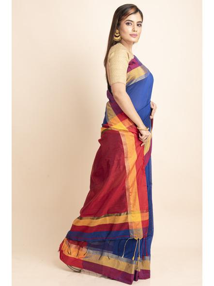 Blue Cotton Handloom Saree with Golden Zari Border-2