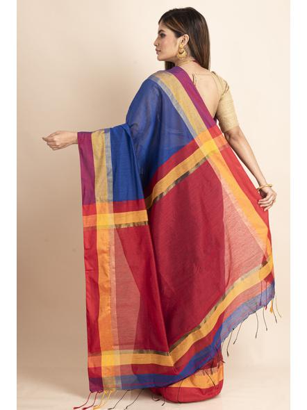 Blue Cotton Handloom Saree with Golden Zari Border-1